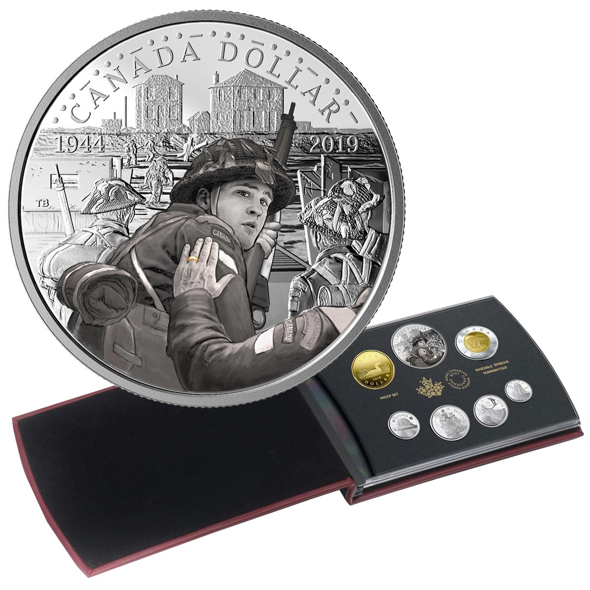 75TH ANNIVERSARY OF D-DAY ROYAL CANADIAN MINT 2019 PROOF SILVER DOLLAR