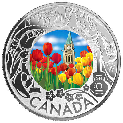 2019 $3 Celebrating Canadian Fun and Festivities: Tulips - Pure Silver Coin