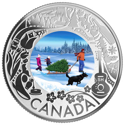 2019 $3 Celedrating Canadian Fun and Festivities: Christmas Tree- Pure Silver Coin