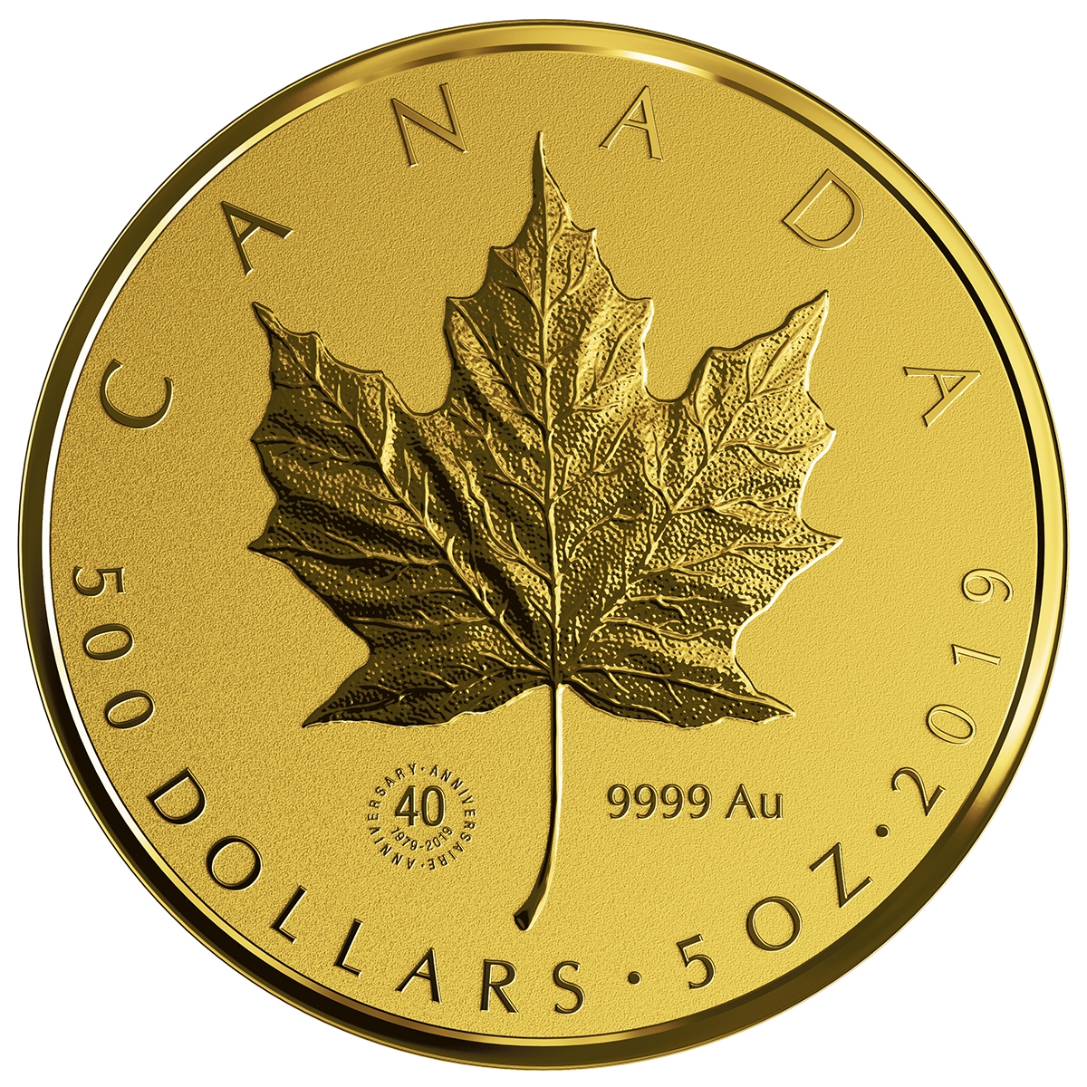 2019 500 Gold Maple Leaf Pure Coin