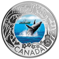 2019 $3 Celedrating Canadian Fun and Festivities: Whale Watching - Pure Silver Coin