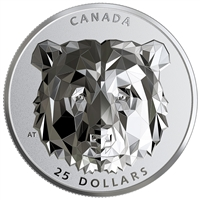 2020 $25 Multifaceted Animal Head: Grizzly Bear - Pure Silver Coin