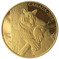 2019 $350 Canadian Wildlife Portraits: The Cougar - Pure Gold Coin