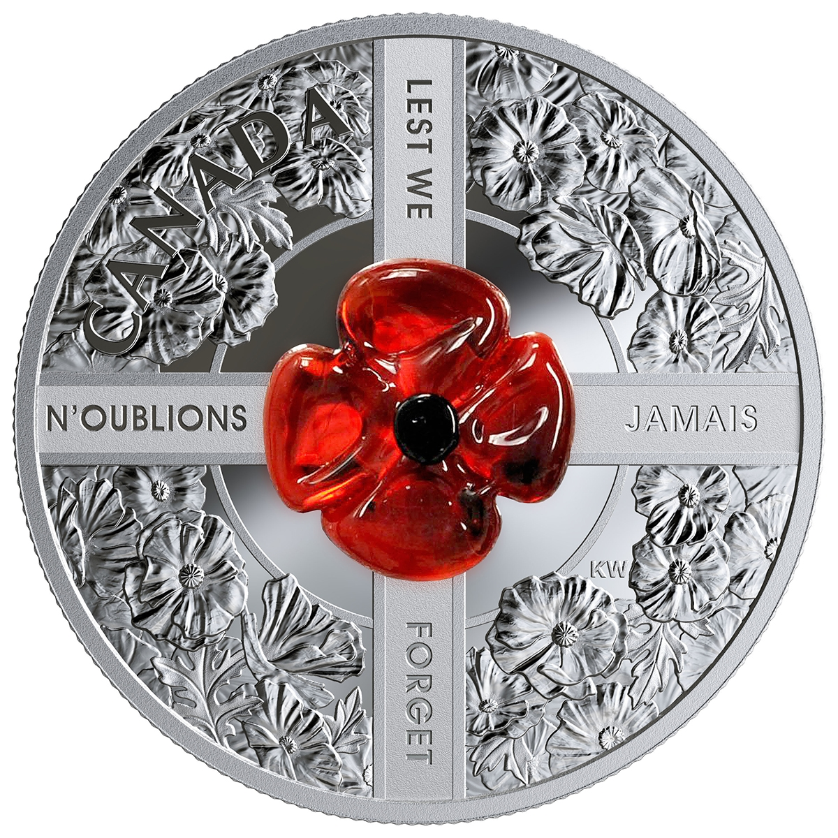 2019 $20 FINE SILVER COIN LEST WE FORGET WITH MURANO GLASS POPPY
