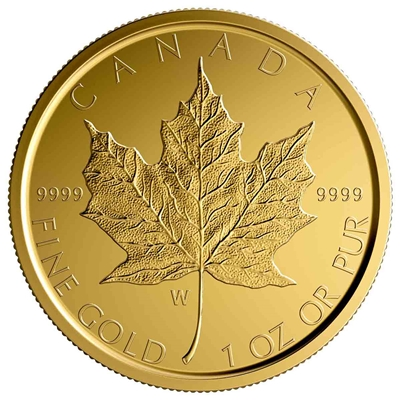 2020 $50 Gold Maple Leaf - W Mint Mark (Winnipeg) - Pure Gold Coin