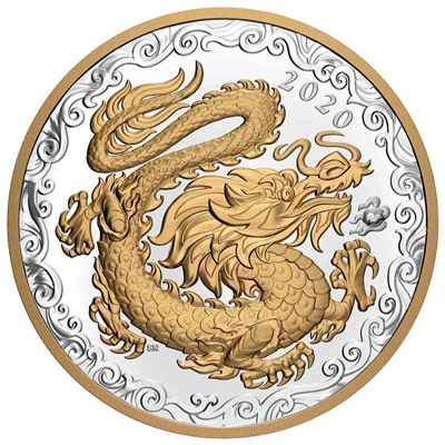 2020 $125 Lucky Dragon - Pure Silver Coin