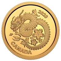 2020 $8 Lucky Flower Dragon - Pure Gold Coin