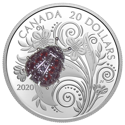 2020 $20 Bejewelled Bugs: Ladybug - Pure Silver Coin