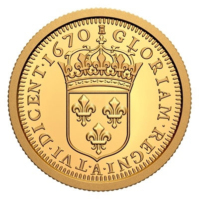 2020 $10 Relics of New France: Louis XIV 15 Sol - Pure Gold Coin