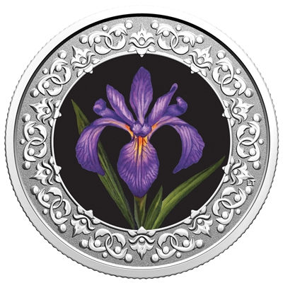 2020 $3 Floral Emblems of Canada - Quebec: Blue Iris Flag -  Pure Silver Coin