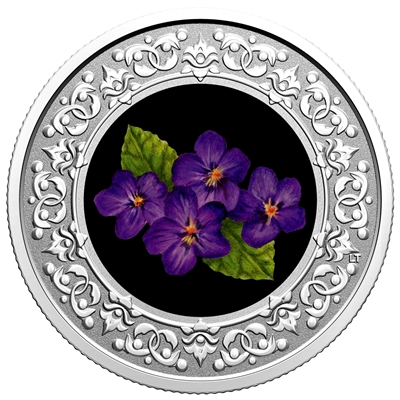 2020 $3 Floral Emblems of Canada - New Brunswick: Purple Violet -  Pure Silver Coin