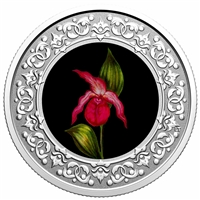 2021 $3 Floral Emblems of Canada - Prince Edward Island: Lady's Slipper -  Pure Silver Coin