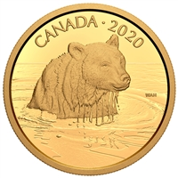 2020 $350 Canadian Wildlife Portraits: The Grizzly Bear - Pure Gold Coin