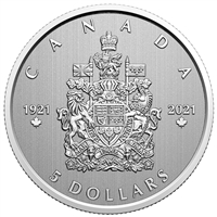 2021 $5 Moments To Hold: Arms of Canada - Pure Silver Coin