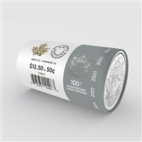 2021 50-Cent 100th Anniversary of Canada's Coat of Arms Limited Edition Special Wrap Roll