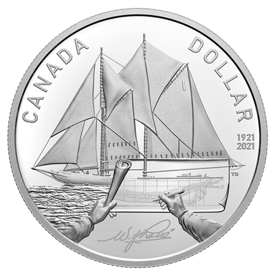 2021 $1 100th Anniversary of Bluenose - Pure Silver Coin