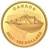 2021 $100 100th Anniversary of Bluenose: The Launch - Pure Gold Coin