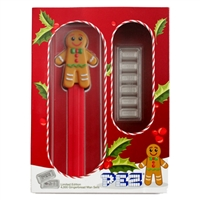2020 PEZ Gingerbread Man Silver Wafers & Dispenser Gift Set