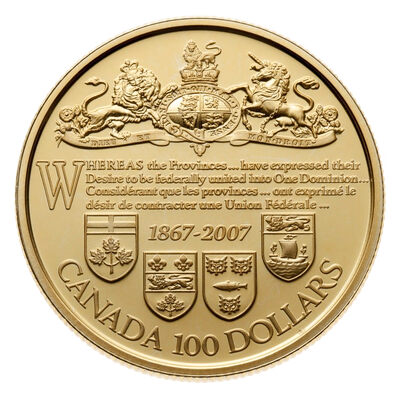 $100 2007 Gold Coin - 140th Anniversary of the Dominion of Canada