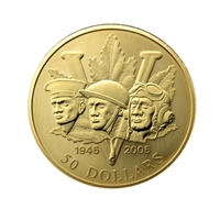 2005 $50 End of Second World War, 60th Anniversary - 14-Kt Gold Coin