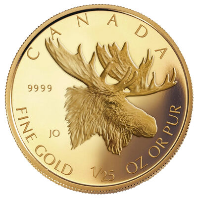50c 2004 1/25 oz Gold Coin - 25th Anniversary of the Gold Maple Leaf - Moose