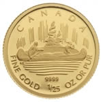 50c 2005 1/25 oz Gold Coin - 70th Anniversary Voyageur Design by Emanuel Hahn