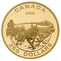 2006 $250 14kt Gold Coin - Dog Sled Team