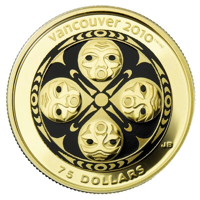 $75 2008 14-Karat Gold Coin - Vancouver 2010 Olympic Winter Games - Four Host First Nations