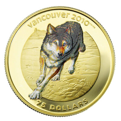 $75 2009 14-Karat Gold Coin - Vancouver 2010 Olympic Winter Games - Wolf