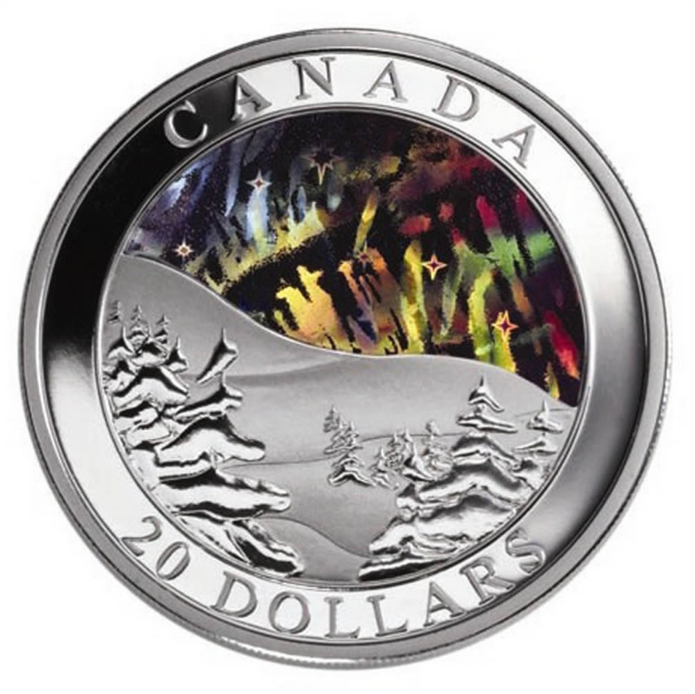 20 2004 Silver Coin Northern Lights Royal Canadian