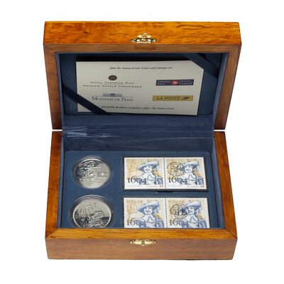 2004 $1 and 1/4 Euro Ile Sainte-Croix Coins and Stamps Set