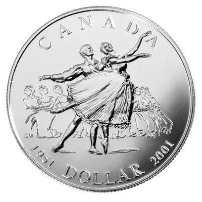 $1 2001 Brilliant Uncirculated Silver Coin - 50th Anniversary of the National Ballet of Canada