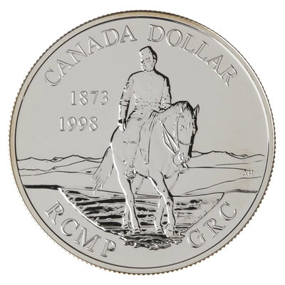 $1 1998 Brilliant Uncirculated Silver Coin - 125th Anniversary of the Royal Canadian Mounted Police