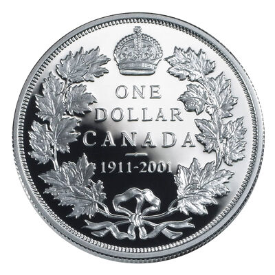 $1 2001 Silver Coin - 90th Anniversary of the Striking of Canada's 1911 Silver Dollar