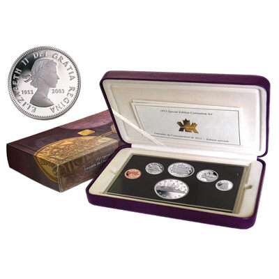 2003 (1953-) Proof Set - Special Limited Edition - Coronation - 50c Coat of Arms / $1 Voyageur with Queen Elizabeth II Laureate Portrait