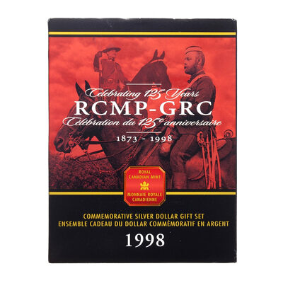 $1 1998 Commemorative Brilliant Uncirculated Silver Gift Set - 125th Anniversary of the Royal Canadian Mounted Police