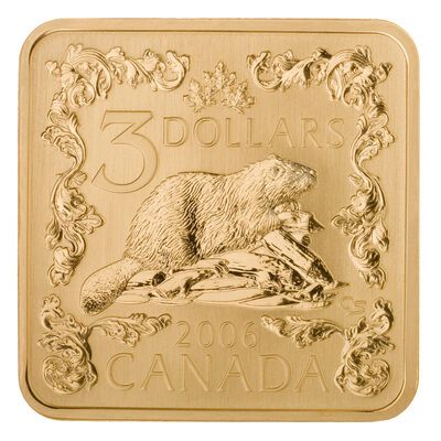 $3 2006 Silver Coin - The Beaver (Square)