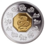 2001 $15 Silver Coin - Year of the Snake (Discounted)