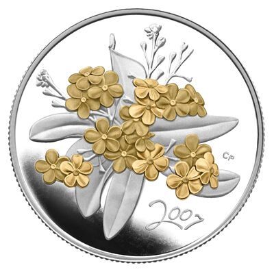 50c 2007 Sterling Silver Coin - Golden Forget-Me-Not
