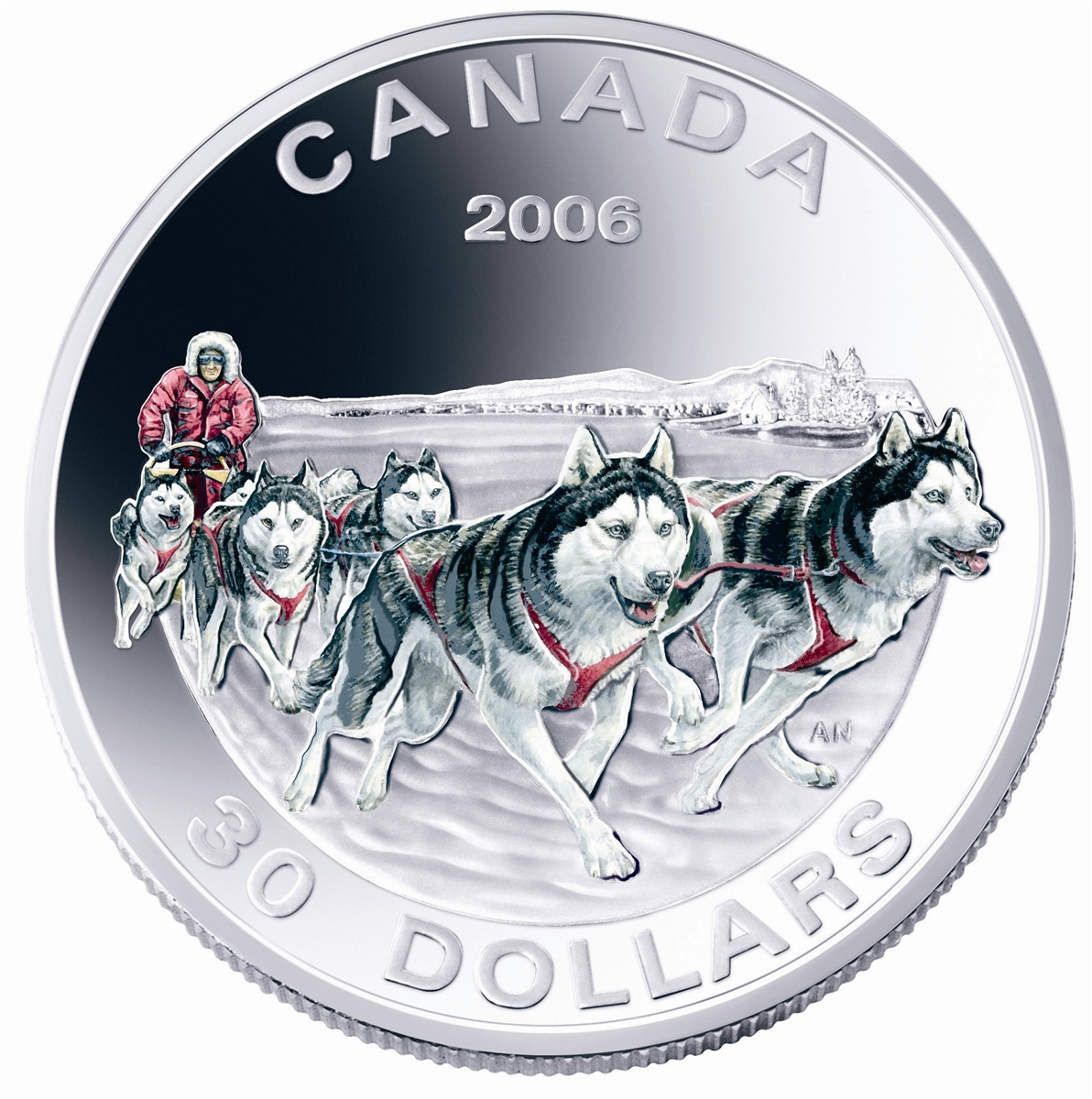 2006 30 Sterling Silver Coin Dog Sled Team Royal