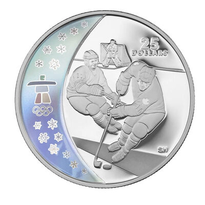 $25 2007 Sterling Silver Hologram Coin - Vancouver 2010 Olympic Winter Games - Ice Hockey
