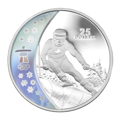 $25 2007 Sterling Silver Hologram Coin - Vancouver 2010 Olympic Winter Games - Alpine Skiing