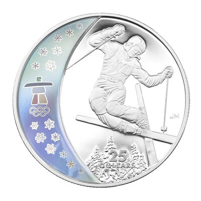 $25 2008 Sterling Silver Hologram Coin - Vancouver 2010 Olympic Winter Games - Freestyle Skiing