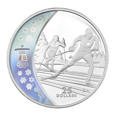 $25 2009 Sterling Silver Hologram Coin - Vancouver 2010 Olympic Winter Games - Cross Country Skiing