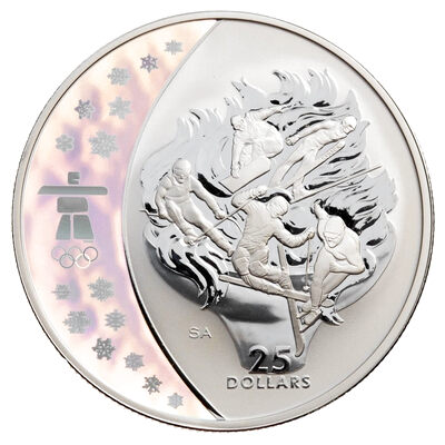 $25 2009 Sterling Silver Hologram Coin - Vancouver 2010 Olympic Winter Games - Olympic Spirit
