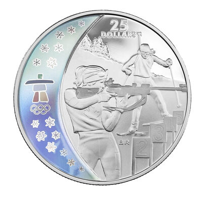 $25 2007 Sterling Silver Hologram Coin - Vancouver 2010 Olympic Winter Games - Biathlon