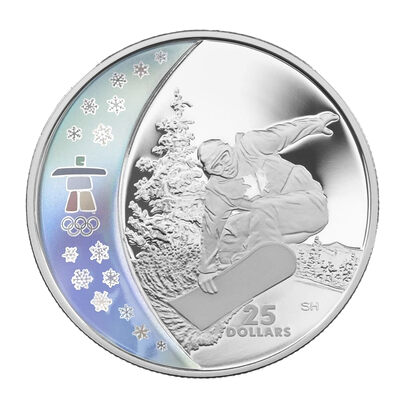 $25 2008 Sterling Silver Hologram Coin - Vancouver 2010 Olympic Winter Games - Snowboarding
