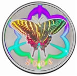 50c 2004 Silver Coin - Tiger Swallowtail Butterfly