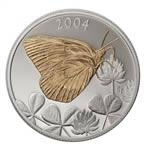 50c 2004 Silver Coin - Clouded Sulphur Butterfly