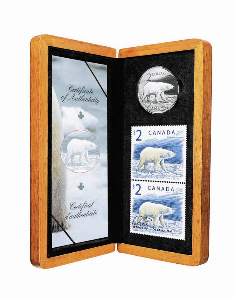 Sale 2004 Polar Bear Sterling Silver $2 Coin and Stamp Set